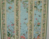 """Quilted  Throw or Wall Hanging - Spring flowers & birds - 42"""" X 52"""""""
