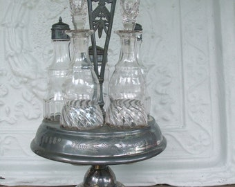 Glass and Silver Plated Table Service R.B. & Co. Salt Pepper Sugar Vinegar Oil ON SALE
