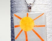 Pretty Sun Square Glass Pendant/ Handbag Charm