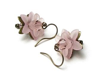Soft Rose Sweet Petite Floral Crystal Antique Brass Earrings, Petite Flower Earrings, Tiny Pink Flower Earrings, Soft Rose Flowers, Romantic