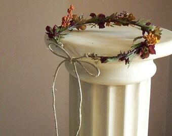 Rustic Bridal Floral crown Flower Girl Halo soft browns Hair wreath fairy garland headdress Barn Wedding Accessories Autumn country costume