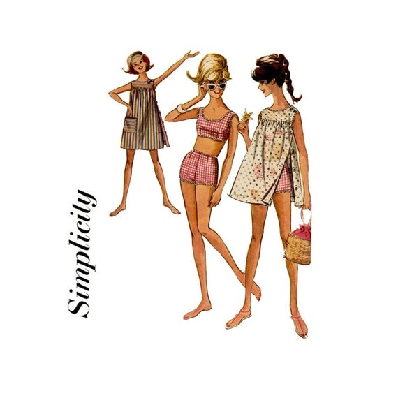 1960s Two Piece Bathing Suit Pattern Simplicity 6018 Bust 34 Womens Vintage Sewing Pattern Teen Bra and Boy Shorts Swim Suit and Cover Up