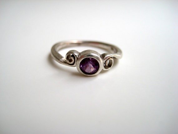 Reserved for Annie - Size 5  - Sterling Silver Amethyst Ring - Marked 925