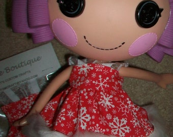 Doll Clothes Dress for Lalaloopsy Doll Winter Red & White Snowflake Print with White Fur Trim New