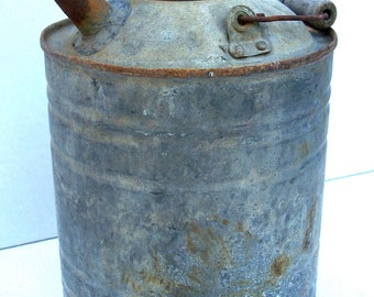 Old Metal Fuel Can, Vintage Round Metal Fuel Can,  Collector Item, Photo Prop, Vintage Decor