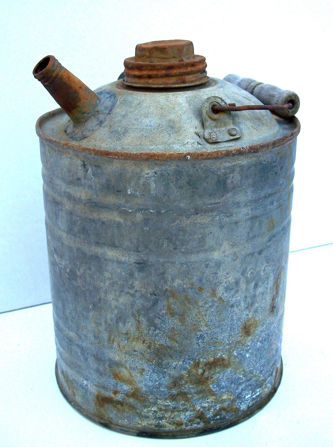 Old Metal Fuel Can Vintage Round Metal Fuel Can Collector