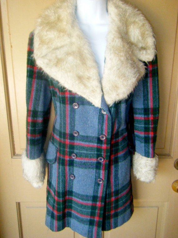 Fur Trimmed Hippie Bohemian Plaid Bombshell Snow Bunny Winter Jacket