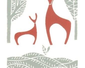 Deer Lino Print - Linocut - Winter Woodland Deers, Original Lino Print - Hand Pulled Block Print - Winter - Mid Century Modern Art