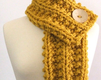 Made to Order - Chunky Knit Mustard Yellow Cowl Scarf with Large Cream Button