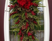 "Christmas Wreath Winter Wreath Holiday Vertical Teardrop Swag Door Decor..""Seasons Greetings"" Red w/ Green"