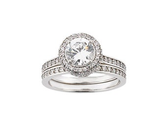 Forever Brilliant Moissanite Solid 14K White Gold Diamond Halo Engagement  Ring set -0.5 carat Round  - ENS2783