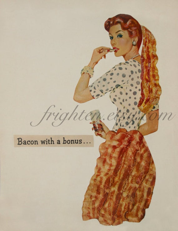 Bacon Art, Paper Collage Print, Retro Art, Surreal Art, Weird Art Print, Collage Art, Food Art Print, Kitchen Wall Decor