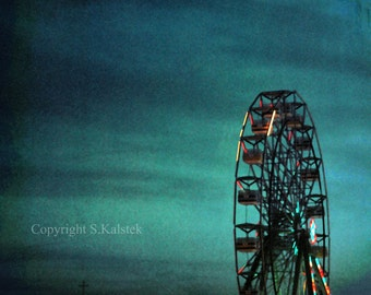 Night Carinival Photograph Ferris Wheel Deep Teal Blue Sky Dreamy Carnival Town 8x8 wall art