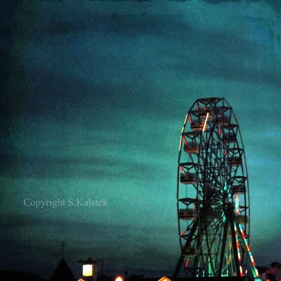 Night Carinival Photograph Ferris Wheel Deep Teal Blue Sky Dreamy Carnival Town 8x8 wall art