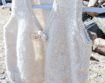 Special: Handknit Handspun 100% Pure Cashmere Baby Vest, Luxury Heirloom Quality