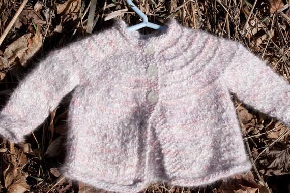 Sale: Hand Knit Angora, Wool & Silk Baby Sweater Pink Cardigan, Luxury Heirloom Quality