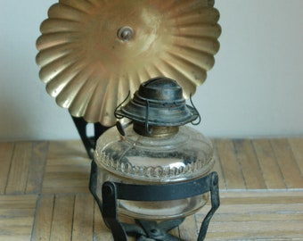 Vintage Wall Mount Oil Lamp With Brass Reflector