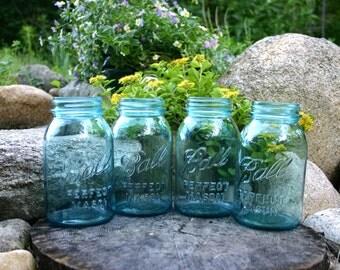 4 Vintage Quart Aqua Ball Mason Jars - No Lids - WEDDING JARS - Shower & Party Decor - Blue Teal Turquoise Jars - INSURANCE with Shipping