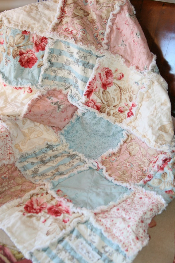 Purple And Teal Crib Bedding Baby Girl Rag Quilt Shabby Chic French Country