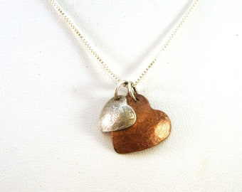 Two Hearts Mixed Metal Necklace - Sterling Silver and Copper Hearts Necklace