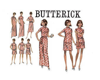 Make One Dress and Wear it 3 different Lengths concept 1960s Uncut sewing pattern Butterick 5485 Size 12 Bust 34 long knee mini