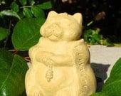 SMALL MEDITATING CAT Solid Stone Garden Buddha Sculpture (o)