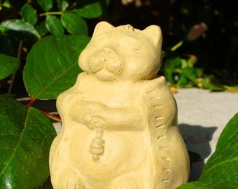 SMALL MEDITATING CAT Solid Stone Garden Buddha Sculpture (o)