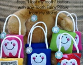 Personalized Tooth Fairy Pillow & FREE Button, plush,embroidered, personalized with name, comes with a Free Lost my Tooth button
