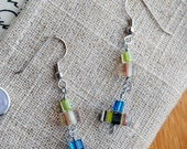 Beaded Earrings Cane Glass Jewelry Blue Green Unique Fashion Hypoallergenic Metal
