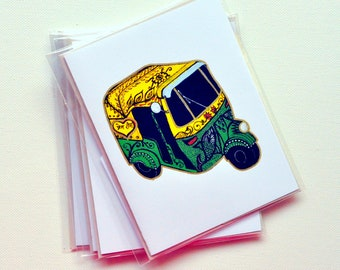 ART CARDS - New Delhi Auto Rickshaw - India Inspired Exotic Art Greetings- Limited Edition