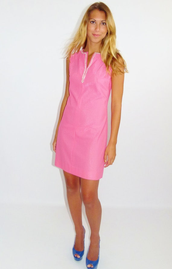 Vintage 60s Pink Shimmery Mod Mini Dress with Pearls and Beading, Size Small Medium S M 4 6 8