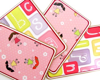 CLEARANCE-Blank Notecard Set- 4 Cards, 2 Each of 2 Designs, with Matching Embellished Envelopes: Girly Girl