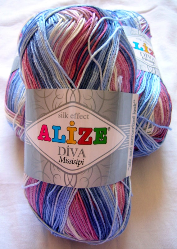 Alize Diva Mississipi Batik Design Yarn In Blues And Pinks