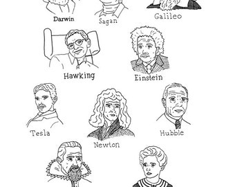 Pen and Ink Illustration of Ten Scientists