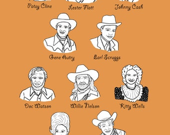 Country Singers Print - 8.5 x 11