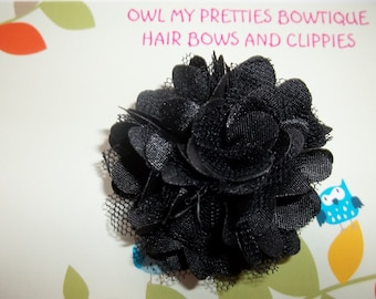 Mini BLACK Satin and Tulle Flower Hair Clip Babies Toddlers Girls