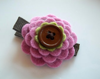 FALL Mauve Celery Green and Brown Felt Flower Hair Clip Babies Toddlers Girls