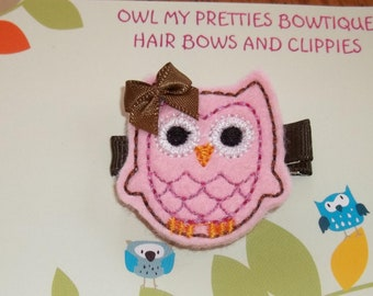 PINK BROWN Felt OWL Hair Clip Babies Toddlers Girls