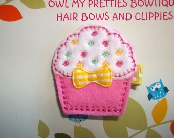 Pink White Yellow CUPCAKE - First Birthday - Felt Hair Clip Clippie Baby Toddlers Girls