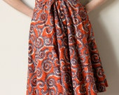 70s Hippie Swing Skirt, Ellen Tracy boho batik high waisted full skirt, sienna brick red, navy blue & white, XS petite
