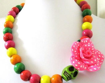 Sugar Skull Necklace Day of the Dead Rose Hot Pink Polka Dots Green Yellow Red Orange Pink