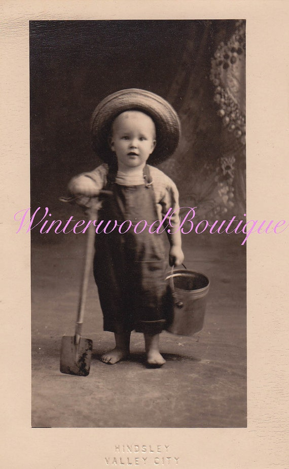 Cutest Little Barefoot Boy Photo Post Card in Hat holding a shovel and bucket