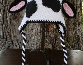 Cow earflap crochet hat