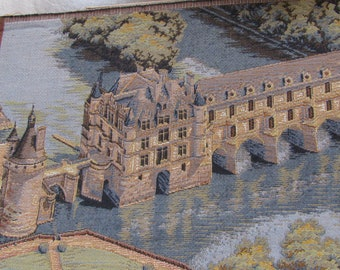 OOAK Vintage French Fortress/ Chenonceau, Loire Valley  / French Hand Loomed Weave/Textile/ ART