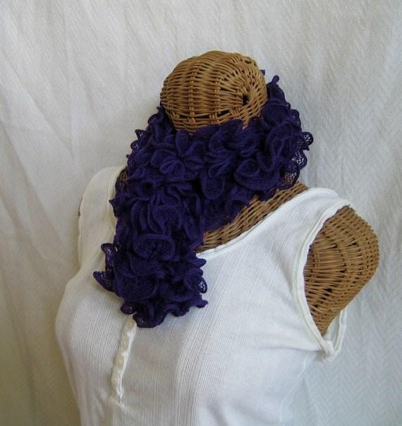 Knitted purple ruffle scarf Women girls frilly ruffle knitted scarf PURPLE flamenco