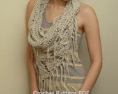 Crochet Pattern PDF - Triangle Cowl - Electronic PDF File - Infinity Scarf Instant Download Crochet Pattern
