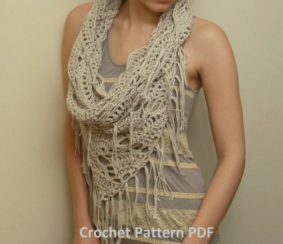 Crochet Cowl Pattern PDF - Triangle Cowl - Electronic PDF File - Infinity Scarf Instant Download Crochet Pattern