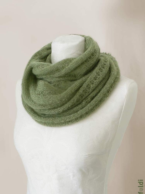 Knitted mohair cowl, snood in fern green