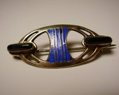 Antique German Jugendstil Secessionist Art Nouveau Patriz Huber Silver Enamel Brooch Pin Lapis Lazuli Deutsch Silber Emaille Stein Brosche