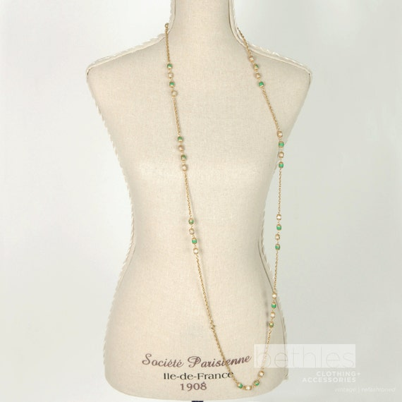 Necklace Gold with Green and Pearl Bead Long Chain Vintage 60s Costume Jewelry